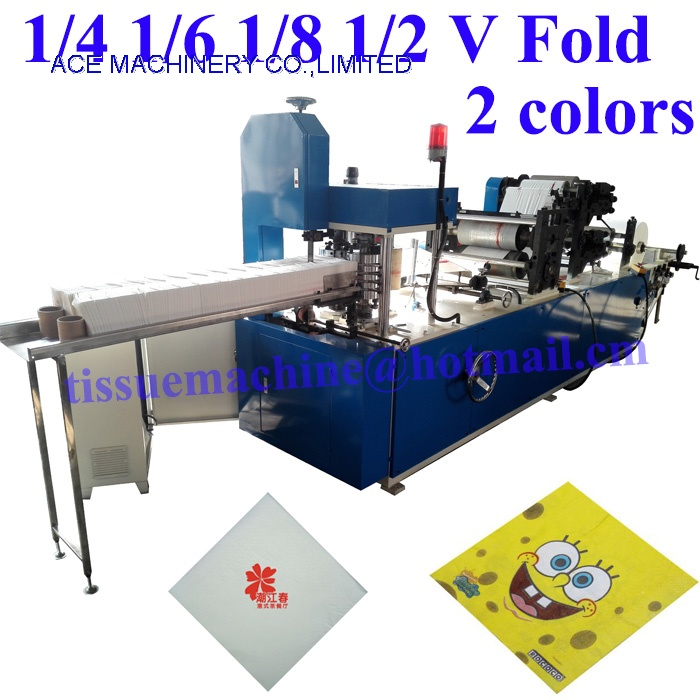 Single deck output napkin machine with 2 colors printing