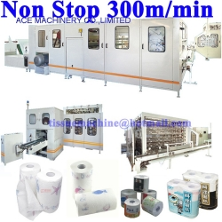 Non Stop Bathroom Toilet Hygienic Tissue Paper Kitchen Towel Roll Rewinder Machine Production Line with Lamination Glue