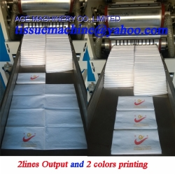 2Lanes High Speed 1/8 Fold Dinner Napkin Machine with 2 Colors Printing and Embossing