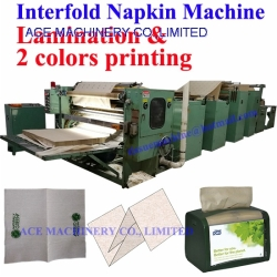 Interfold Dispenser Napkin Machine with Lamination and 2 colors Printing